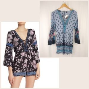 NEW ANGIE Boho Floral Bell Sleeve Romper